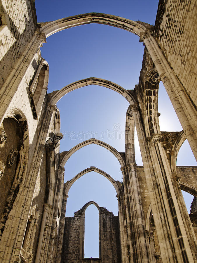 Ruins of the Carmo Church. The Carmo Convent is a historical building in Lisbon, Portugal. The medieval convent was ruined in the 1755 Lisbon Earthquake, and the stock photos