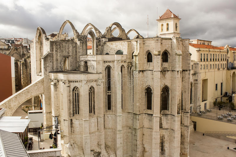 Ruins of Carmo church and convent in Lisbon, Portugal. Once one of main catholic churches and carmelite convent in Lisbon, it was destroyed by the earthquake royalty free stock photos