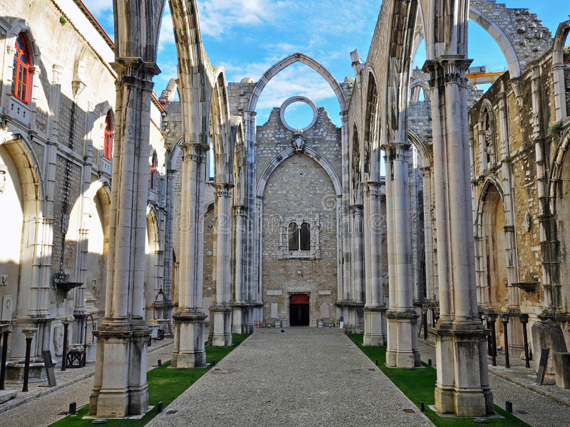 Ruins of Carmo church in Lisbon. Portugal stock image