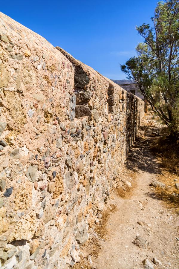 Ruins of Castel Selino in Paleochora, Crete island, Greece royalty free stock image