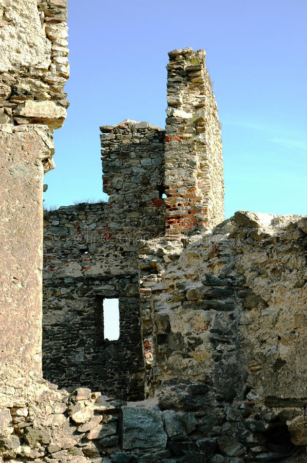 The ruins of the castle. Of Brincko at Zabreh, Czech Republic stock photo