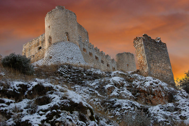Ruins of the Castle Calascio stock photos