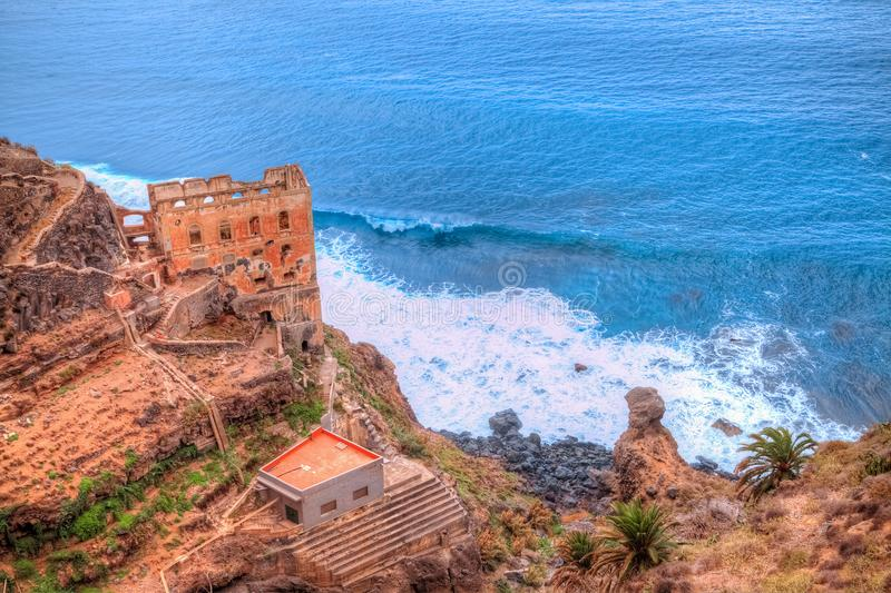 Ruins of the castle on the coast of Los Realejos, Tenerife. Historical ruins of a church castle on the beach of Los Realejos area in Garachio region, in Tenerife stock photography