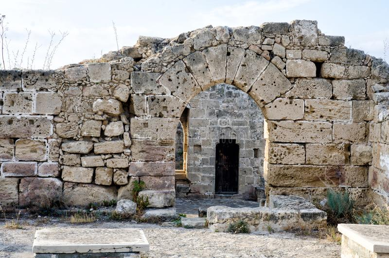 Ruins of a castle in Cyprus. With door stock photography
