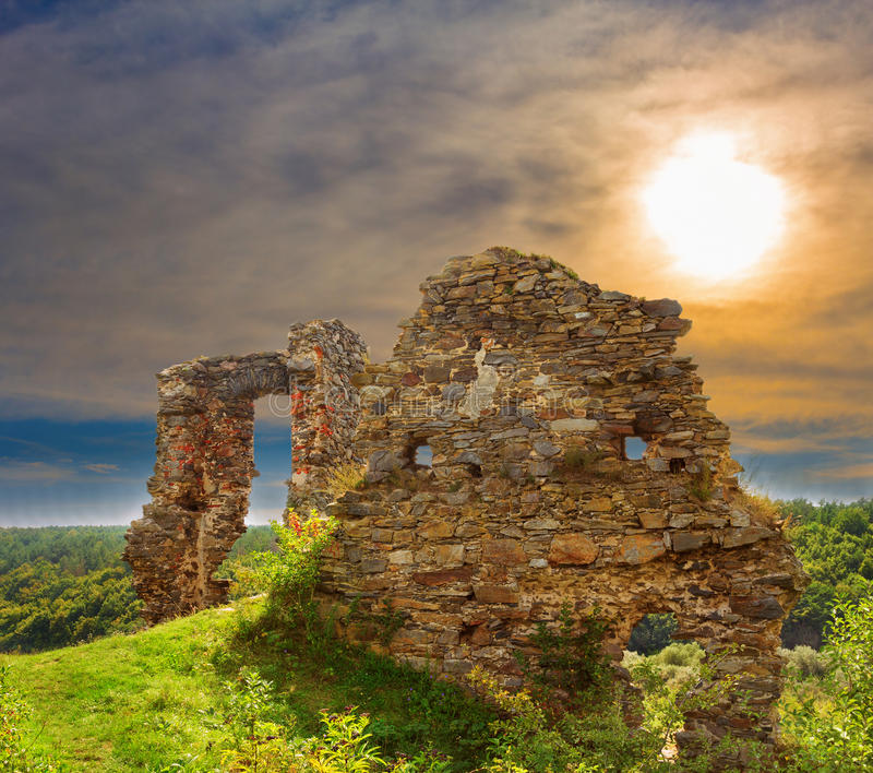 Ruins of the castle stock photo