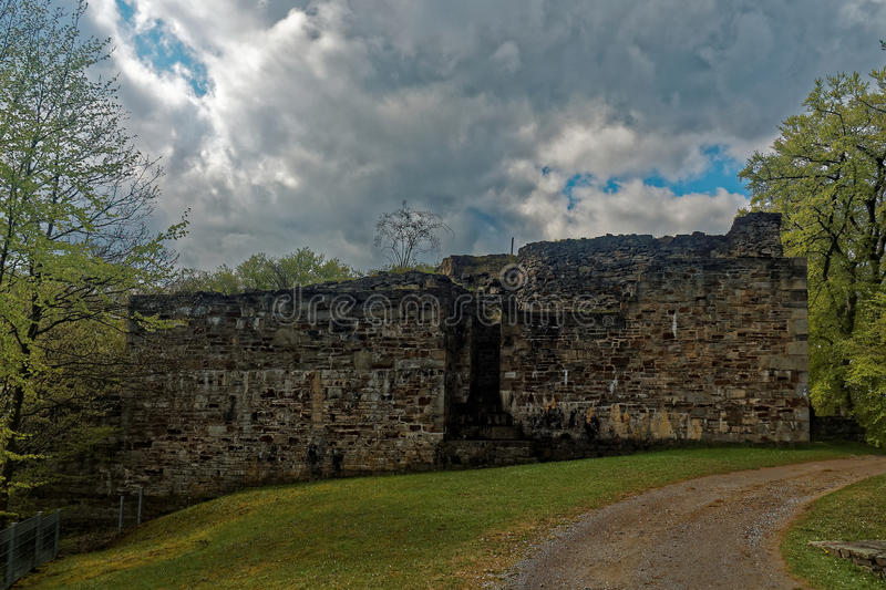 Ruins of a castle keep, entrance royalty free stock photography