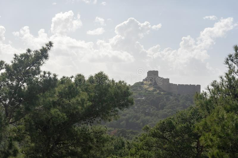 Ruins of the castle of Kritinia in Rhodes royalty free stock image