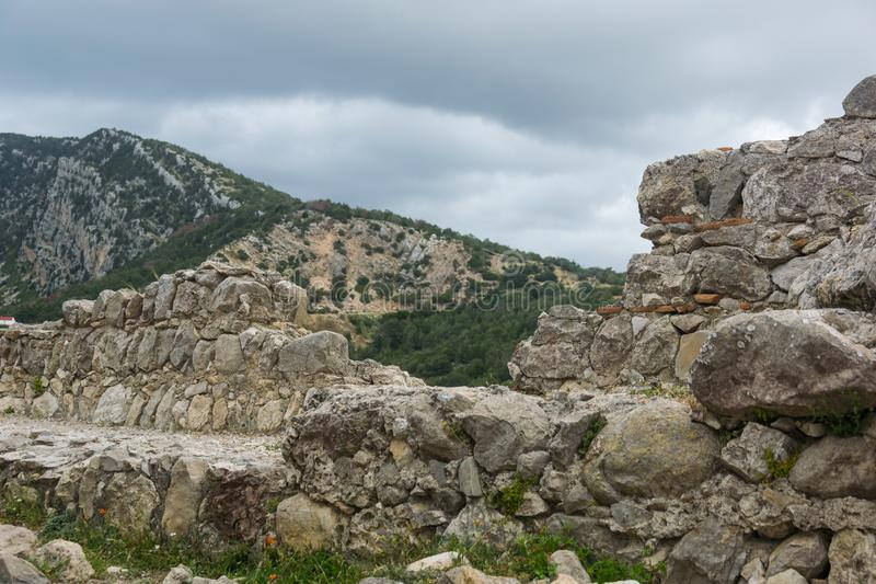 Ruins of the castle of Kritinia in Rhodes stock photography