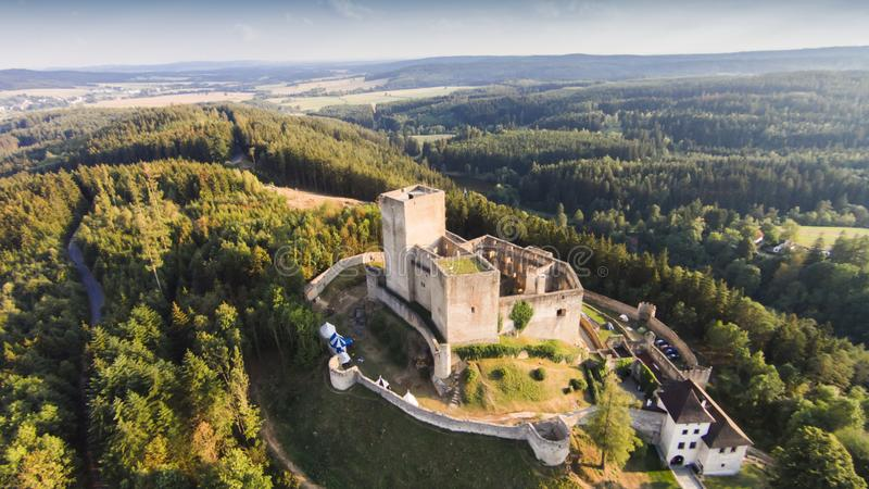 Ruins of castle Landstejn aerial view. South Bohemian region. Czech Republic, Europe royalty free stock photos