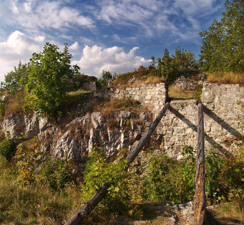Ruins - The Castle of Liptov. Preserved ruin of Castle in archaeological repository of The Castle of Liptov near Kalameny village in Slovakia stock photography
