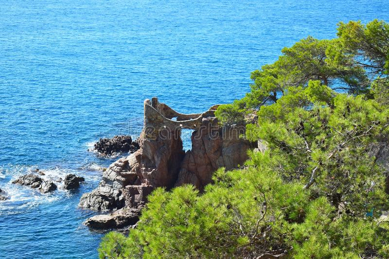 The ruins of the castle on the rock among the green pine trees and the sea in the background. royalty free stock images