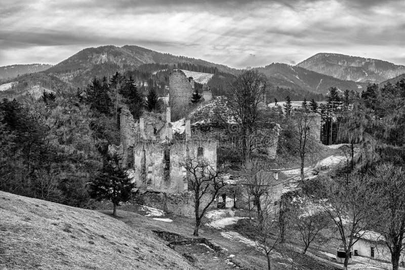 The Sklabina castle, Slovakia. Ruins of Castle Sklabina in Slovaka royalty free stock photo