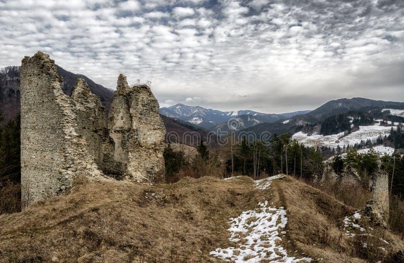 The Sklabina castle, Slovakia. Ruins of Castle Sklabina in Slovaka royalty free stock photos