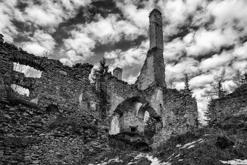 The Sklabina castle, Slovakia. Ruins of Castle Sklabina in Slovaka royalty free stock photography