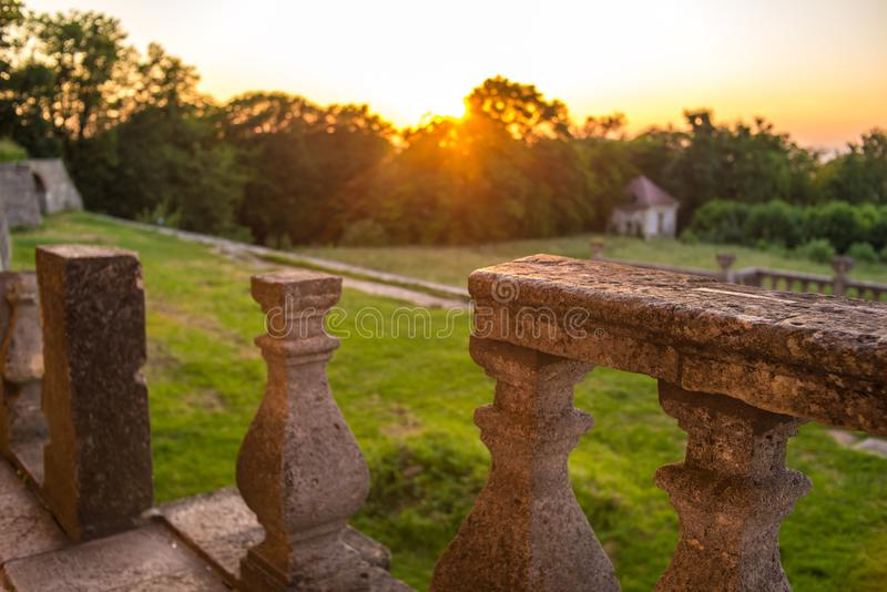 Ruins of the castle. at sunset royalty free stock image