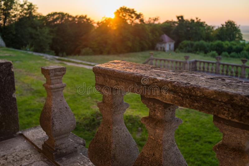 Ruins of the castle. at sunset stock photo