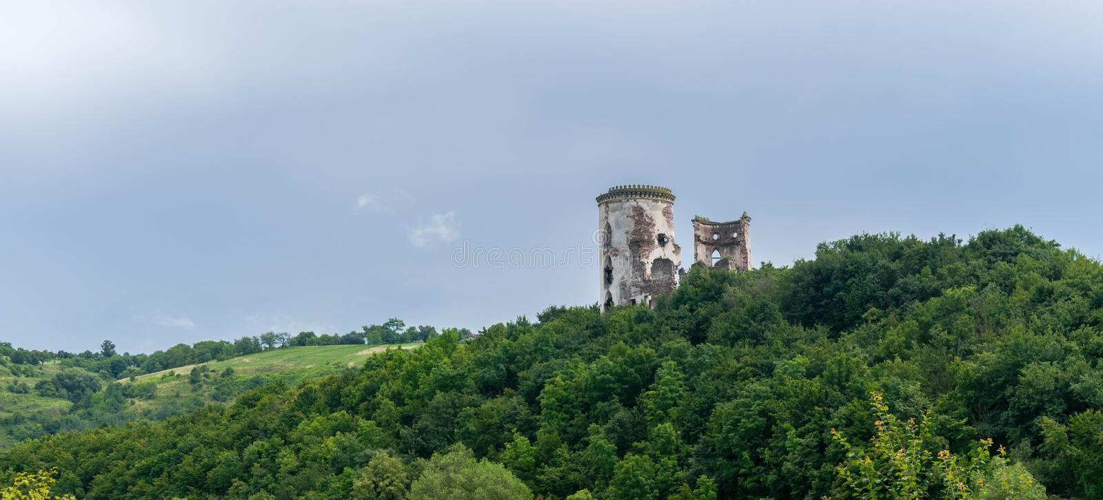The ruins of the castle with two towers stock images