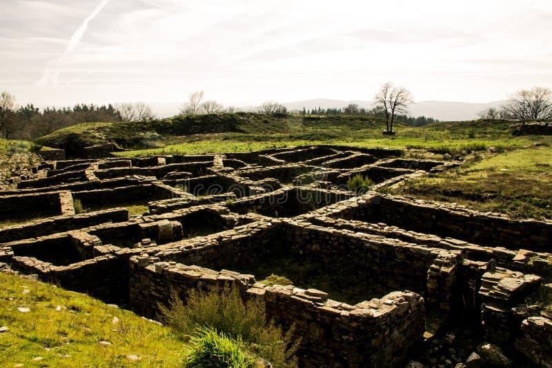 Ruins of Celtic settlement: Castro de Castromaior. Antic Celtic and Romanic ruins in Galicia stock photography