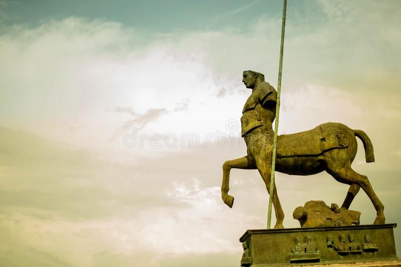 Ruins of the Ceuntar in Pompeii. Italy. Tourist city of Ancient Pompeii UNESCO World Heritage Site destroyed by vesuvius volcano. Broken bronze sculpture of a royalty free stock photo