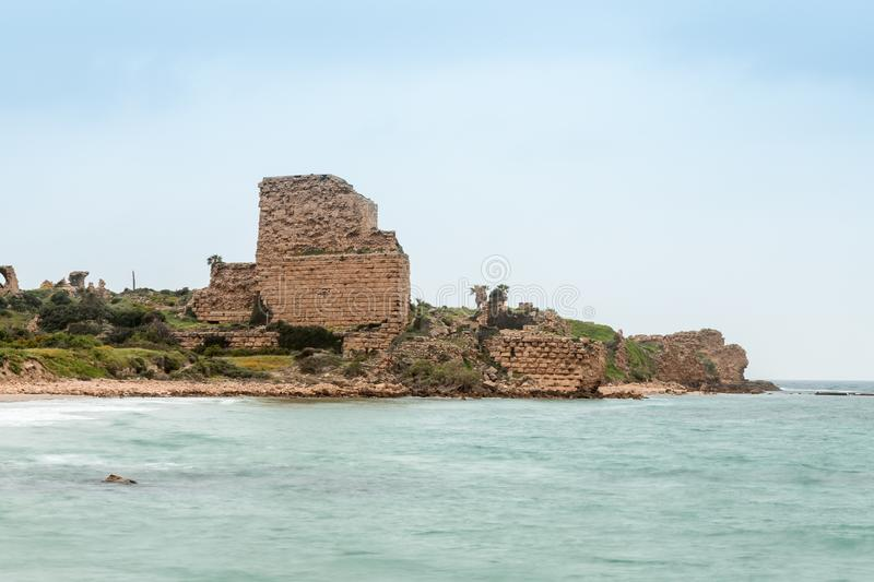 The ruins of the Chateau Pelerin fortress built by the Knights Templar during the fifth Crusade in the beginning of the 13th centu. Ry near the Atlit city royalty free stock photo