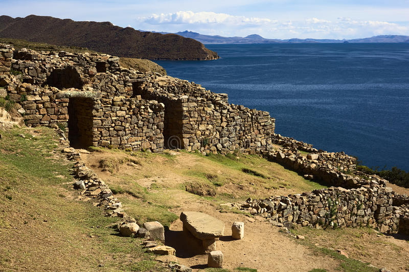 Ruins of Chinkana on Isla del Sol on Lake Titicaca, Bolivia. Chinkana (meaning labyrinth in quechua) archeological site of Tiwanaku (Tiahuanaco) origin on the royalty free stock photography
