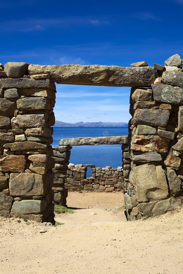 Ruins of Chinkana on Isla del Sol on Lake Titicaca, Bolivia royalty free stock image