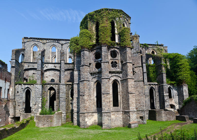 Ruins of the Choir of the church in the Abbey of Villers la Ville, Belgium. Outdoor view on the remains of the Choir of the church in the ruined cistercian abbey royalty free stock images