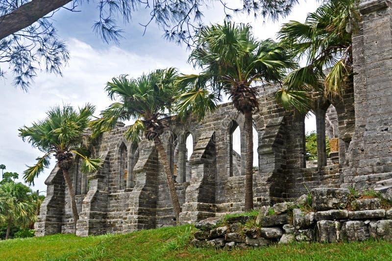 The ruins of the church stock photos