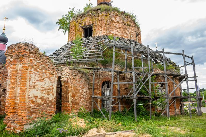The ruins of the Church of the Assumption of the Blessed Virgin of the 18th century. The temple complex of the estate Grabtsevo Grabcevo near Kaluga royalty free stock photos