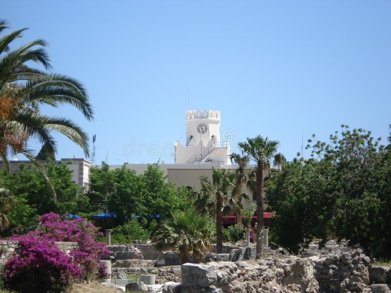 Ruins and a church in Kos, Greece. Ruins, a church and a blue sky in Kos, Greece royalty free stock photography