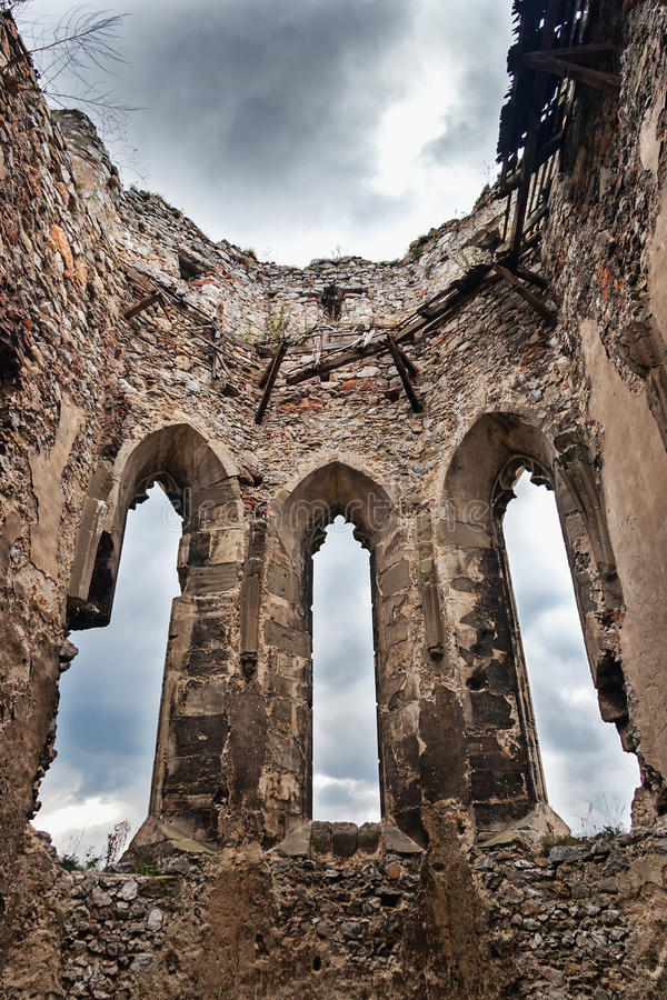 The ruins of the church boat royalty free stock images