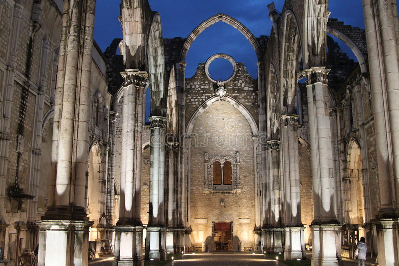 The ruins of the Church. The ruins of the Carmo Church in Lisbon stock photo