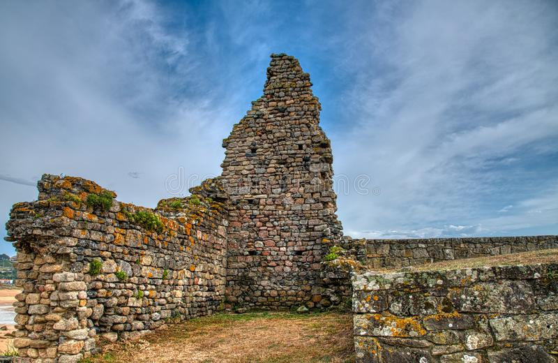 Ruins. A Church Completely Collapsed By Its Side In Noalla. Nature, Architecture, History, . Galicia stock photos