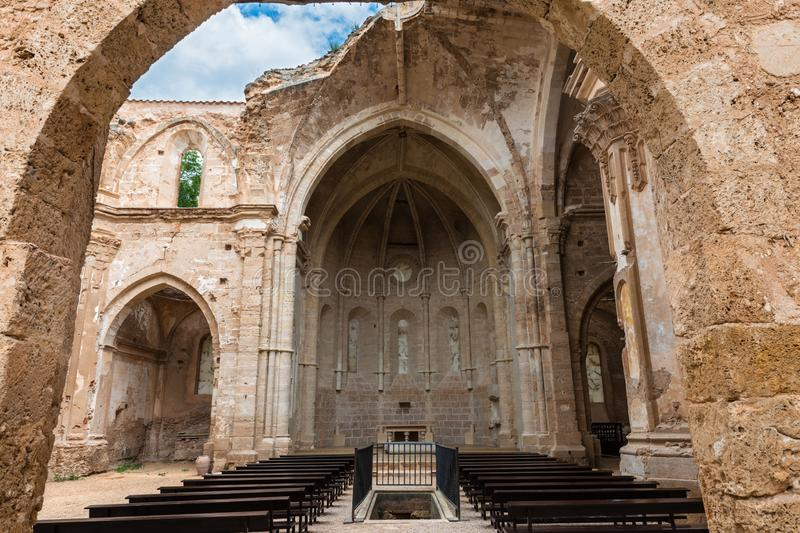 Ruins of the church of the Monastery of Piedra. Ruins of the main church of the XIII Century Monasterio de Nuestra Señora de Piedra Monastery of our Lady of royalty free stock photos