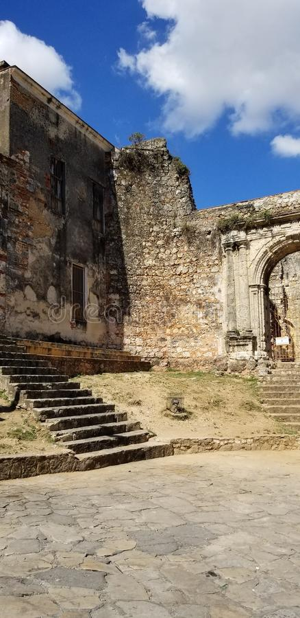 Ruins of the Church and Monastery of San Francisco. Incredible Ruins of the Church and Monastery of San Francisco in the historical Ciudad Colonial in Santo stock images