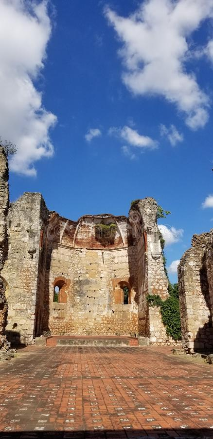 Ruins of the Church and Monastery of San Francisco. Incredible Ruins of the Church and Monastery of San Francisco in the historical Ciudad Colonial in Santo royalty free stock photography