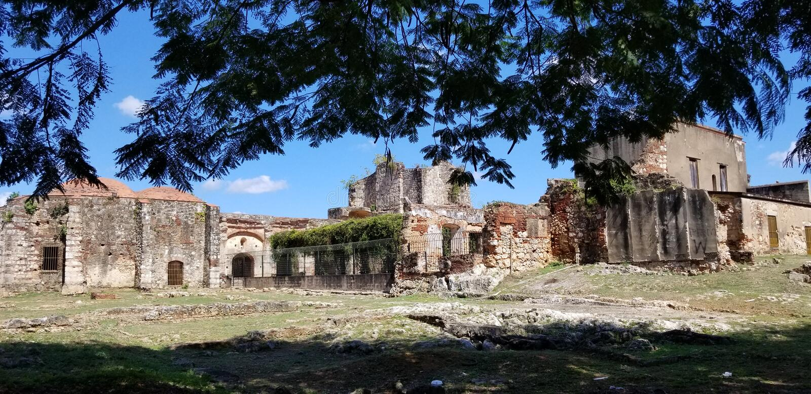 Ruins of the Church and Monastery of San Francisco. Incredible Ruins of the Church and Monastery of San Francisco in the historical Ciudad Colonial in Santo stock photo