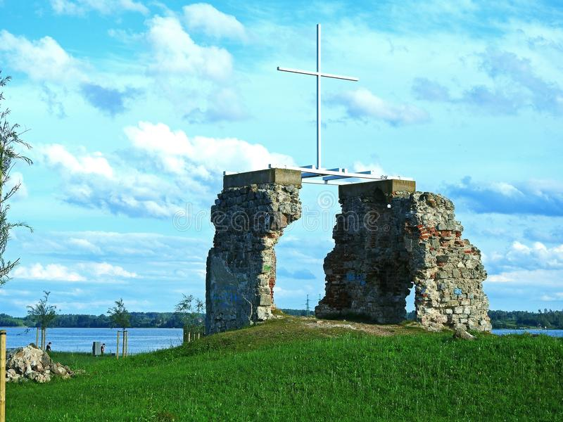 The ruins of church. The ruins of the old castle on the river bank stock images