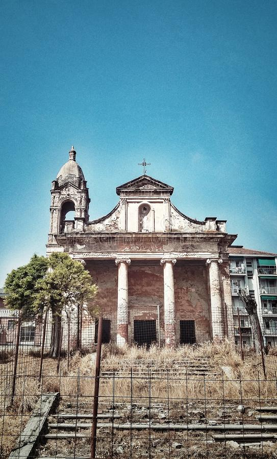 Ruins of a church. The ruins of the old Saint Remigio church in Carignano, Turin Piedmont, Italy royalty free stock photography