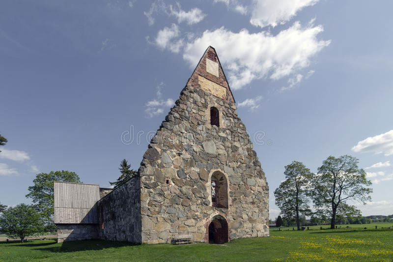 The ruins of the church. The ruins of the old church in western Finland stock image