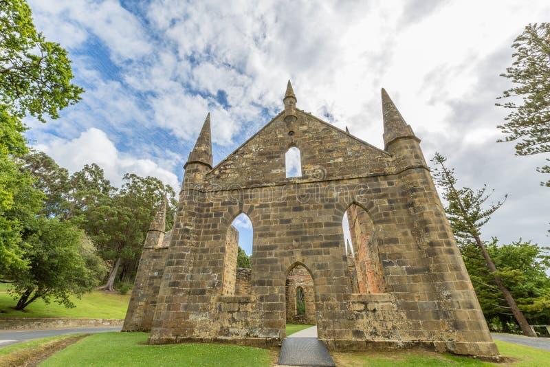 Port Arthur Convict. Ruins of the Church Convict, ancient historic church convict settlement, at Port Arthur Historic Site, in Tasman Peninsula, Tasmania royalty free stock photo