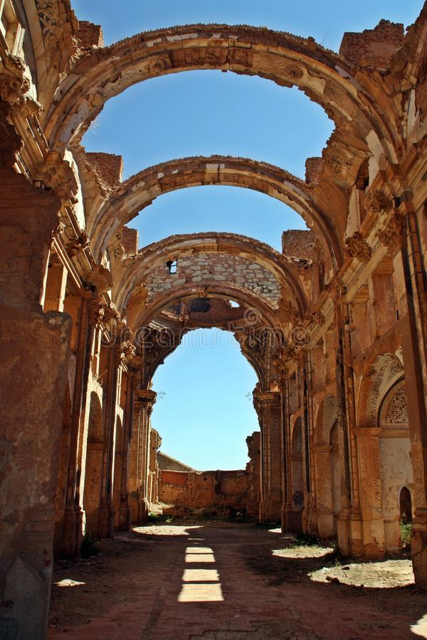 Ruins of the Church of San Agustín in Belchite, Spain. stock photography