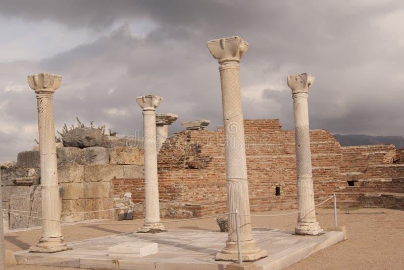The ruins of the church. Ruins of the St John's church in Ephesus, Turkey stock photos