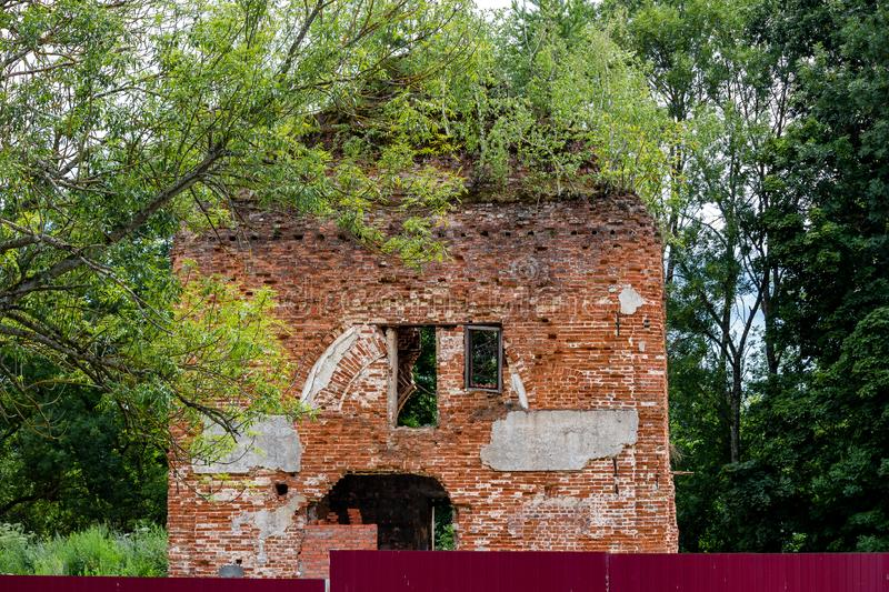 Ruins of the Church of St. Nicholas the Wonderworker in the village of Avchurino. Ferzikovsky District, Kaluzhskiy region, Russia - July 2019 royalty free stock images