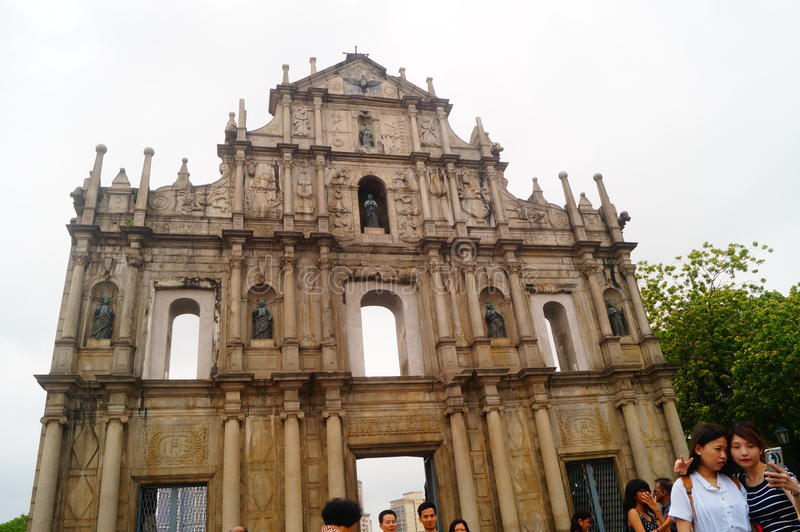 The ruins of the Church of St Paul. St. Paul's church. The ruins are the God the mother church (St. Paul's Church) in front of the wall ruins, the Chinese and royalty free stock image