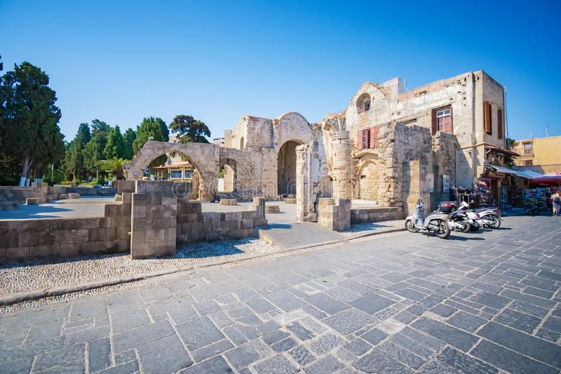 Ruins of Church of the Virgin of the Burgh - Byzantine Greek Orthodox church (Rhodes, Greece) stock images