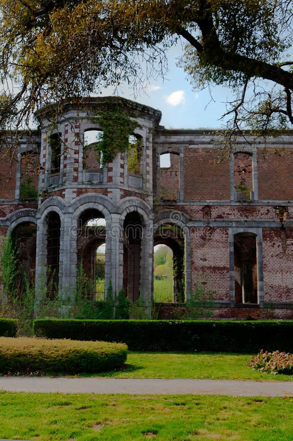 Ruins Abbey Aulne Thuin Landelies, Belgium royalty free stock image