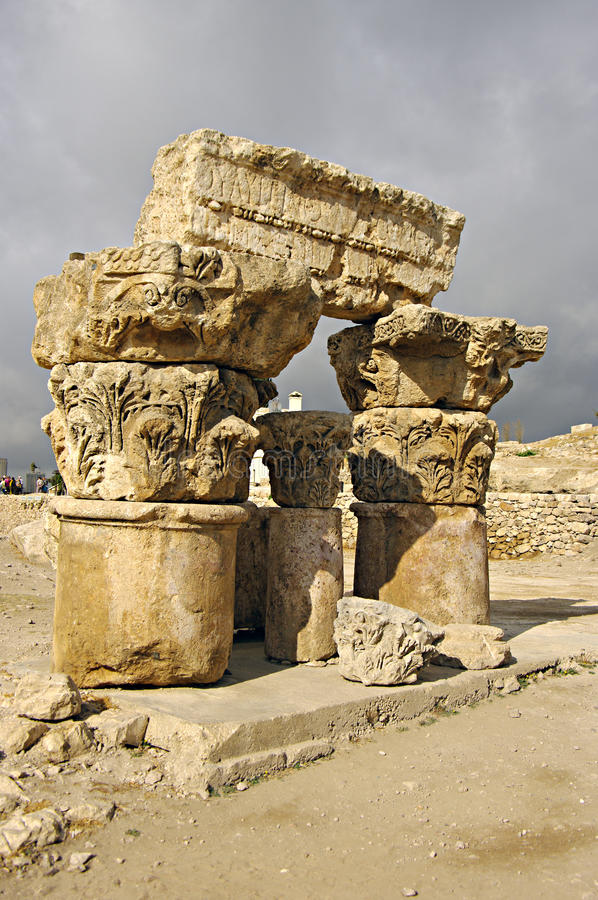 Ruins of citadel in Amman in Jordan. royalty free stock photography