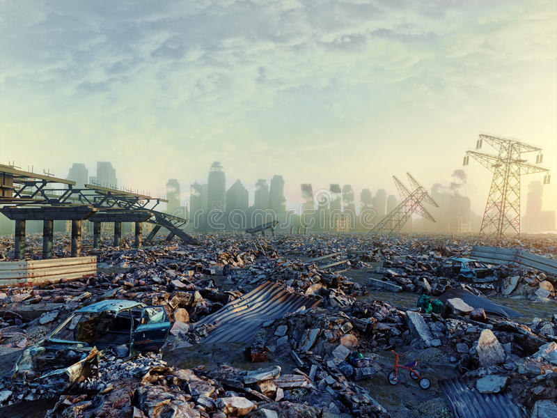 Ruins of a city. Apocalyptic landscape.3d illustration concept vector illustration