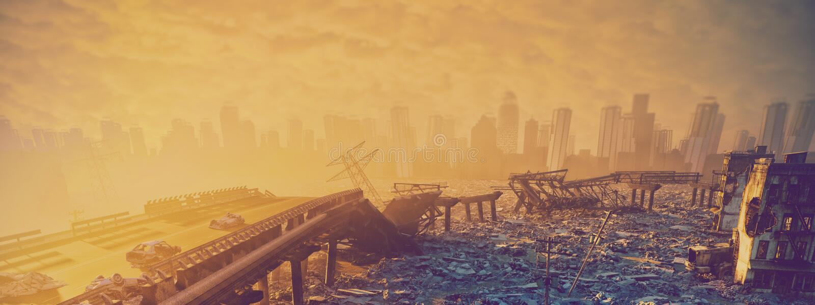 Ruins of the city. Apocalyptic landscape.3d illustration concept stock illustration